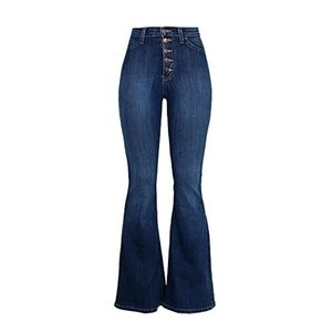 Fashion Nova Dark Wash Flare Bell Bottom High Waisted Rise Jeans Stretchy Boho